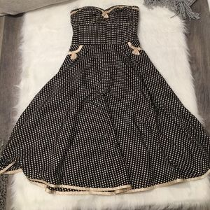 Phoebe Couture Black Polka Dot Strapless Dress